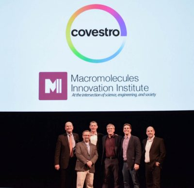Don Wardius, Robert Moore, James Timberlake, Tim Long, Chris Williams, and Joe Wheeler after the 2018 Covestro Lecture.