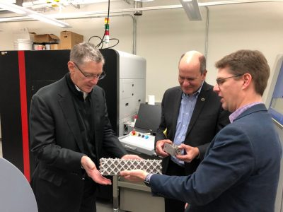 James Timberlake (left) visits the DREAMS Lab with Don Wardius (center) and lab director Chris Williams (right)