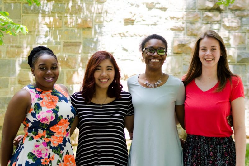 Four women who participated in the 2017 Research Experience for Undergraduates (REU) program